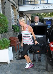 Denise van Outen was spotted wearing a laid-back ensemble featuring a striped tank top.