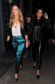 Lauren attended a TOWIE Christmas dinner in these lovely metallic blue trousers.