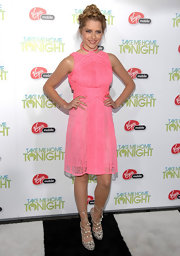 Teresa wore a lacy pink frock with an attached neck piece at the 'Take Me Home Tonight' premiere.