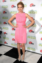 Teresa Palmer  looked sultry at the 'Take Me Home Premiere' in lace up snakeskin wedges.