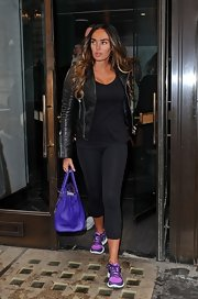 Tamara Ecclestone kept her look on the casual side when she opted for black workout leggings.
