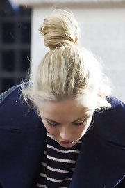 Tamsin Egerton pulled her hair up in a messy bun as she goes out and about in London.