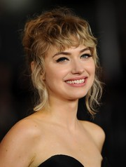 Imogen Poots opted for a messy updo when she attended the premiere of 'That Awkward Moment.'