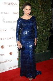 Sophia Bush's midnight blue box clutch matched her sequined gown so perfectly it almost blended right into her dress.
