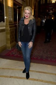 Sheridan Smith rocked a trendy leather jacket while at 'The Audience' curtain call.