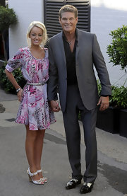 Hayley Roberts' sported a summery ensemble, consisting of a print dress and white wedges, when she visited Fountain Studios with David Hasselhoff.