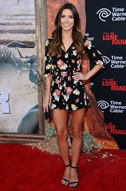 Audrina Patridge looked smart and sexy in a super-short print shirtdress at the premiere of 'The Lone Ranger.'