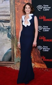 Ruth Wilson was a style star at the 'Lone Ranger' premiere in a navy Alexander McQueen evening dress with a white ruffle neckline.