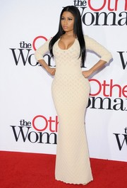 Nicki Minaj continued her minimalist run with this long sweater dress by Alexander McQueen at the LA premiere of 'The Other Woman.'
