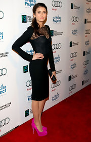 Nina Dobrev brightened up her LBD with a pair of fuchsia suede pumps at the Ripple Effect Benefit.