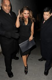 Vanessa White stepped out in style with this structured, peplum LBD.