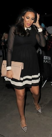 Rochelle Humes still looks stylish and sleek in this maternity skater dress.