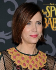 Kristen Wiig attended the premiere of 'The Spoils of Babylon' wearing a straight, side-parted hairstyle.