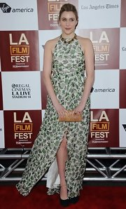 Greta Gerwig oozed sweetness at the premiere of 'To Rome with Love' in a floor-grazing floral halter dress.