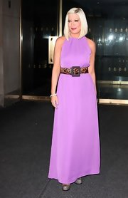 Tori Spelling paired this lilac maxi-dress with a statement belt for her appearance on the 'Today' show in NYC.