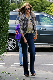 Trinny Woodall rocked a print-on-print look with this cropped jacket and blouse combo.