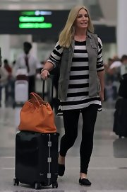 Shannon Tweed was spotted wearing a pair of leggings at the Toronto airport.