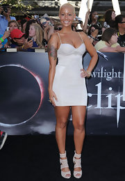 Amber Rose showed off her rose tattoo while hitting the premiere of 'Twilight'.