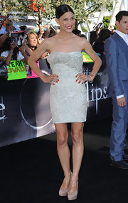Julia Jones paired her nude pumps with a beaded strapless dress and a sleek bun.