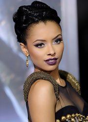 Kat Graham wore a satiny boysenberry shade of lipstick at the premiere of 'Underworld: Awakenings.'