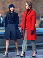 Vanessa Hudgens cut a chic figure in a dual-textured navy coat while filming 'Second Act.'