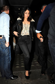 Vanessa Hudgens donned black trousers with a hint of sheen to Yauatcha.