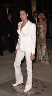 Angelina was white hot at the Vanity Fair Post-Oscar Party in a white pantsuit.