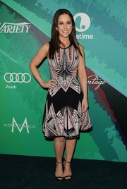 Lacey Chabert displayed her curves in a geometric-print fit-and-flare dress during the Variety Power of Women event.