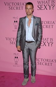 Joey Lawrence went a little daring at the Victoria's Secret 'What Is Sexy?' party wearing this metallic suit.