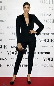 Irina defined fierce in this slick black pantsuit at the 'Vogue Spain' launch.