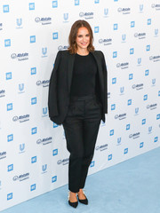 Natalie Portman kept it low-key in a black Dior suit at WE Day California 2019.