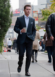 Shia LaBeouf finished off his smart ensemble with Gucci leather loafers while filming 'Wall Street 2.'