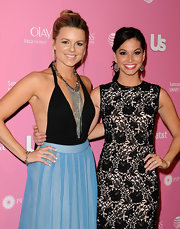 Ali Fedotowsky paired her elegant maxi with a daring backless bodysuit at the Hot Hollywood party.