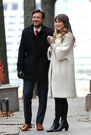 Olivia Wilde was spotted on the set of 'The Longest Week' in a white coat and black ankle boots.