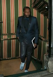 will.i.am sported a retro-inspired blue suite with a cool bow tie for his look while out in Mayfair.