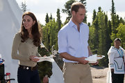 Prince William wore a sky blue button-down with tan corduroys at the Canadian Rangers Station.