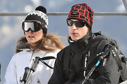 Prince William bundled up for the slopes in a graphic print knit beanie and black shades.