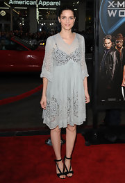 Amanda dons a light weight sheer gray dress with floral lace burnout fabric.