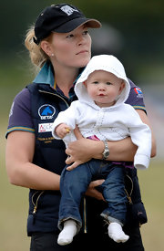 Autumn Phillips sported a black baseball cap at the British Festival of Eventing.
