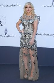 Ellie Goulding sparkled in this silver scatter beaded and embellished gown at the amFAR Gala in Cannes.