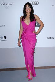 Michelle Rodriguez looked fab at the amfAR Gala all the way down to her frilly pink evening sandals.