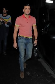 Mark Wright opted for a pair of trendy skinny jeans for his evening look.