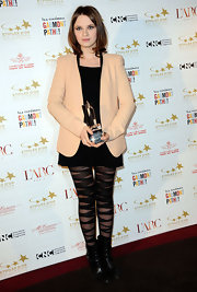 Sarah wears bandage style tights with her sophisticated ensemble at the Les etoiles d'Or Du Cinema Awards in France.