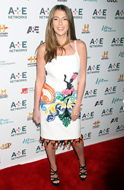 Nina Garcia looked exuberant in a sleeveless print dress at the 2011 A&E Television Networks Upfront Presentation.