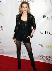 Evan Rachel Wood toughened her dress shorts with black suede ankle boots.