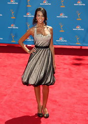 For the 62nd Primetime Emmy Awards, Extra presenter Terri Seymour chose to wear a one of a kind Alexander McQueen dress courtesy of Chic Little Devil Style House.