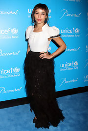 Zoe Kravitz wore a black-and-white frothy black and white Chanel from from the Fall 2011 collection for the UNICEF Snowflake Ball.