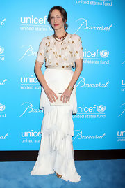 Vera Farmiga looked lovely in a white embellished dress with a tiered skirt for the UNICEF Snowflake Ball.