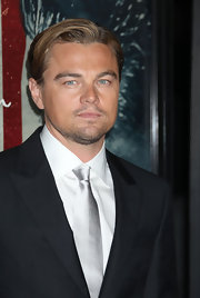 Leonardo DiCaprio brightened up his look with a silver tie during the premiere of 'J. Edgar.'