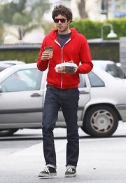 Adam Brody stuck to basic jeans while out on a lunch run in California.